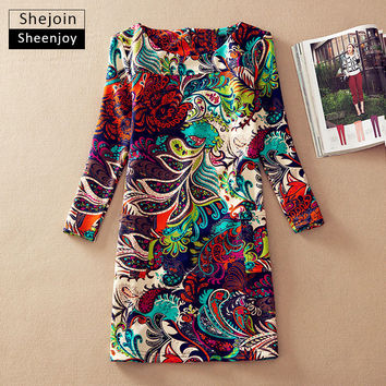 ShejoinSheenjoy Winter dresses long sleeve Fall Dresses Vintage Floral Print Women Dress Casual Autumn Dress Plus size Clothes