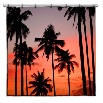 Palm Trees at Sunset Shower Curtain
