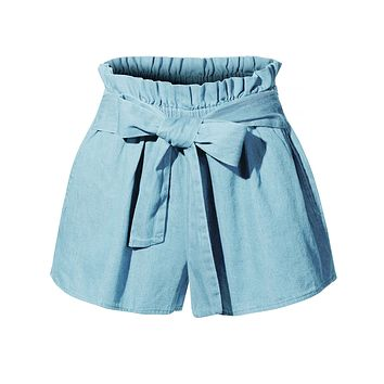 Casual High Waisted Belted Denim Shorts with Pockets