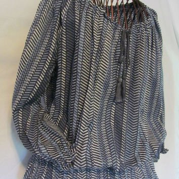 Bohemian Baggy Chevron Blouse Woman size L Chevron Blue Cotton India Blouse