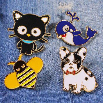 Cartoon Cute Animal Brooch Blue Whale Cat Dog Bee Dripping Oil Fashion Brooch Badge Jacket Dress Collar Lapel Pin Jewelry