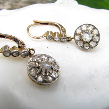 Elegant Sparkly Vintage to Antique 18K Gold Platinum Dangling DIamond Earrings - Old Rose Cut Diamonds - Daisy Style Drops