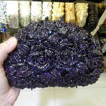 A Bouquet of Roses Shell Shape purple Crystal Clutches Romantic Evening Bag Diamonds Party Handbag 88303
