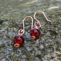 Red Dangle Earrings, Garnet Red Crackle Glass Earrings, Copper Earrings, Red Copper Dangles