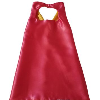 Plain Hot Pink and Yellow Reversible Superhero Cape