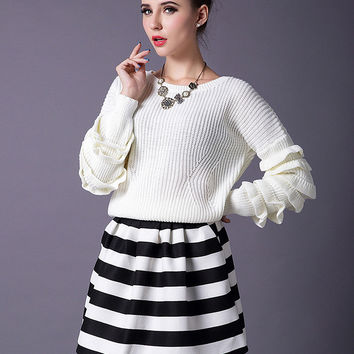 Ruffle Tiered Long Sleeve Sweater and Striped Mini Skirt