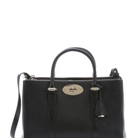 Black Leather Small Bayswater Double Zip Convertible Tote