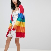 Honey Punch Oversized Cardigan In Rainbow Stripe at asos.com