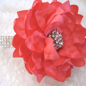 Coral Satin Rhinestone Wrist Corsage Bracelet Bride Bridesmaid Mother of the Bride Prom with Rhinestone Accent. Custom Made