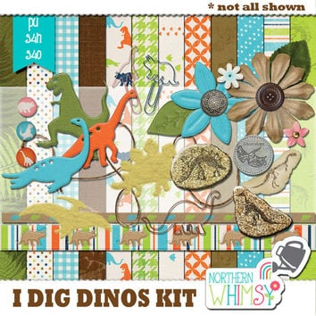 "NEW RELEASE SALE 20% off - Digital Scrapbooking Kit Elements –  ""I Dig Dinosaurs"" – dinosaur scrapbook kit embellishments - pu / s4h / s4o"