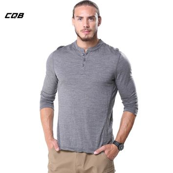 CQB Outdoor Sports Tactical Military Men's Shirt Slim Fit Cloth Full Sleeve Thermal Warm T-shirt for Camping Hiking
