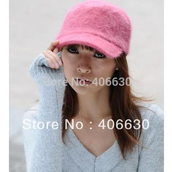 winter solid color rabbit fur berets hats for women, gatsby baseball caps, sun visor caps, free shipping