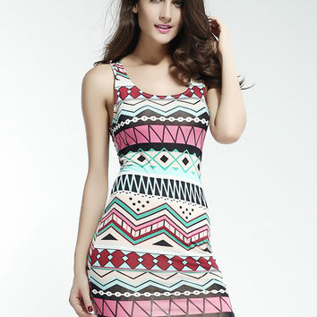 Ethnic Print Sleeveless Bodycon Mini Dress