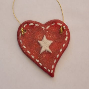 Christmas Ornament Handmade White Star Red Heart Primitive Country Salt Dough Hand Painted