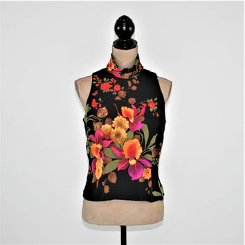 Sleeveless Blouse Silk Top Sexy Black Floral Turtleneck Medium Tropical Orchid Print Dressy Sleeveless Top Size 8 Womens Clothing