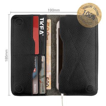 Genuine Leather Wallets for Men Women, G-CASE [Elegant] Slim Leather Multiple Card Slots Cash Compartment Pocket Wallet Card Holder Purse for iPhone X/8/8 Plus/7/7 Plus Cellphones-Large Small Black