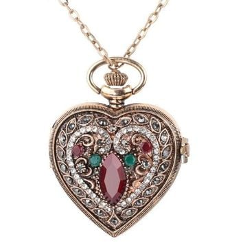 Love Heart Red Pocket Watches Turkish (Vintage Look) Pendant Bronze Quartz Watch Necklace