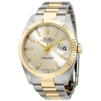 Rolex Datejust 41 Silver Dial Steel 18K Yellow Gold Oyster Mens Watch 12633SSO