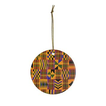 Kente Print Africa Ceramic Ornaments