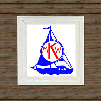 SAILBOAT MONOGRAM vinyl decal * wall decal * monogram on canvas * block script monogram * vine script monogram * names * initials