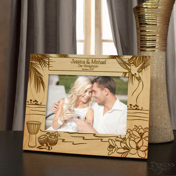 Jamaican Moments Inspired Personalized Picture Frame with Your Choice of Any Font From Our Selection (Select Size & Frame Orientation)
