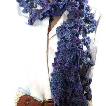 Outlander Claire Scottish Purple Scarf Cowl Shawlette Pansy Fraser Wrap Diana Gabaldon Blue  FREE SHIPPING