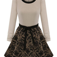 Off-White Long Sleeve Lace Skater Dress