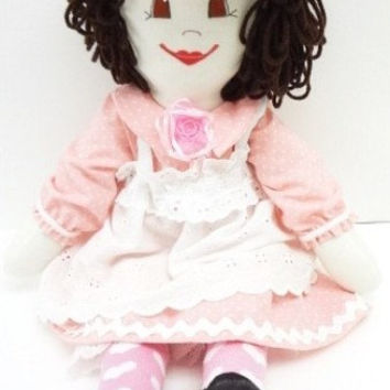 handmade cloth rag doll old fashioned cupids bow mouth pink hearts ragdoll NF105