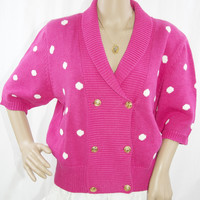 Vintage Pink & White Polka Dot Sweater