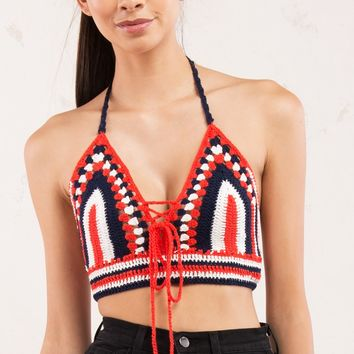 Crochet Red White and Blue Crop Top