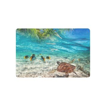 Autumn Fall welcome door mat doormat Sea Turtle Swimming at Tropical Island Anti-slip  Home Decor, Palm Tree Seascape Indoor Outdoor Entrance  Rubber AT_76_7