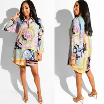 VERSACE Floral Shirt Dress