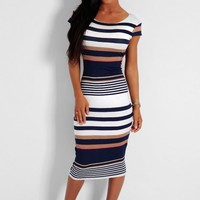 Seaside Blue and White Stripe Bodycon Midi Dress | Pink Boutique