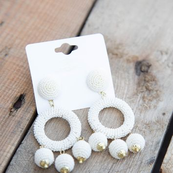 Seed Bead Circle w/Charms Earring, Ivory