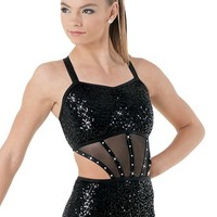 Rhinestone Strappy Sequin Leotard | Balera™