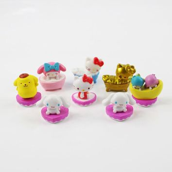 8pcs/lot 3cm Mini Hello Kitty Cat Dog Animals PVC Figure Kawaii Baby Doll Toys Gifts