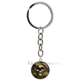 Gothic gun & skull keychain Astraware Golden Skull key chain Human Skull art picture key holder Day of the Dead gifts -936