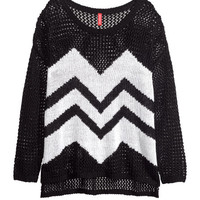 H&M - Loose-knit Sweater - Black - Ladies