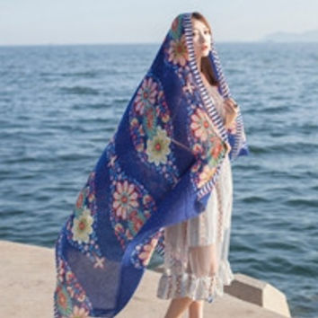 Scarf From India Beach poncho Loose Scarves Casual Ladies Ethnic Style Scarfs Head Sarong Wrap Shawl CF