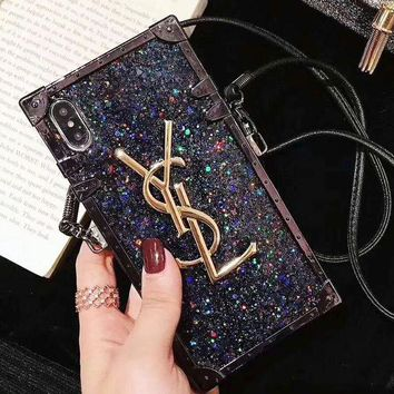 Black YSL Trending Women Stylish Glitter Mobile Phone Cover Case For iphone 6 6s 6plus 6s-plus 7 7plus 8 8plus X XsMax XR Silvery