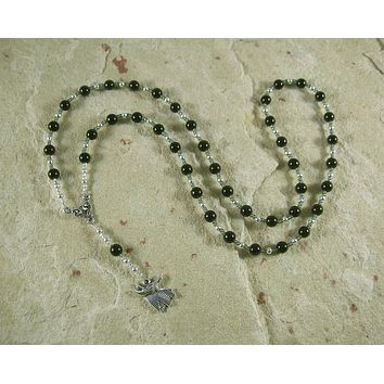 Anubis Prayer Bead Necklace in Black Onyx: Egyptian God of the Underworld, Guardian of the Dead