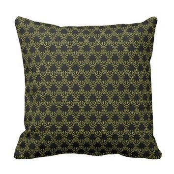 Elegant Lacy Black & Gold Trumpet Flower Design Throw Pillows