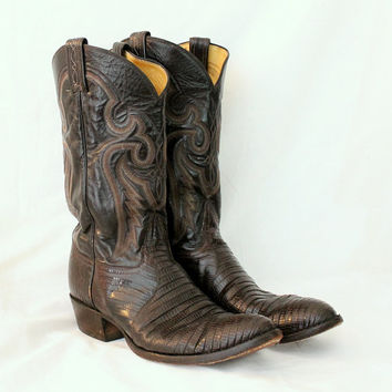 Tony Lama Teju Lizard Cowboy Boots - Dark Chocolate - Black Label - Men 12 A