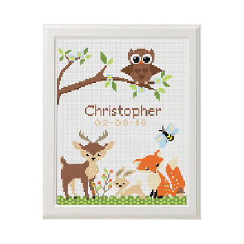 Nursery Cross Stitch birth announcement  Record chevron new baby boy Fox Deer Owl Cross Stitch pattern funny DIY gift