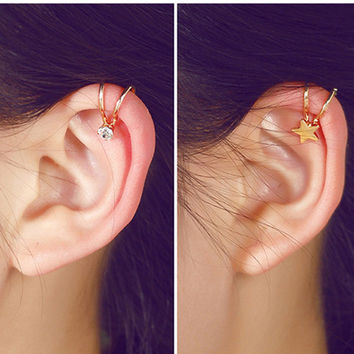 ER157 2016 Korean fashion stars five-pointed star cross Peach Heart crystal imitation pearls clip earrings women jewelry