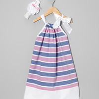 Pillowcase Dress Set.....Dusty Blue and Pink Stripe Clip Headband Pillowcase Dress
