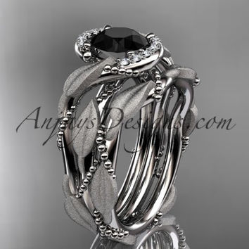 14kt white gold diamond leaf and vine wedding ring, engagement set with a Black Diamond center stone ADLR65S