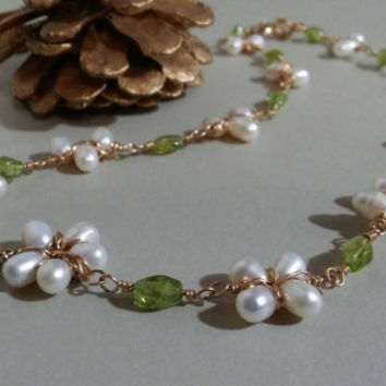 Pearl Flower Necklace, Peridot Necklace, Birthstone Necklace, Pearl Flowers, Peridot Gemstone, Gold Necklace, Wrapped Pearl Flower Necklace