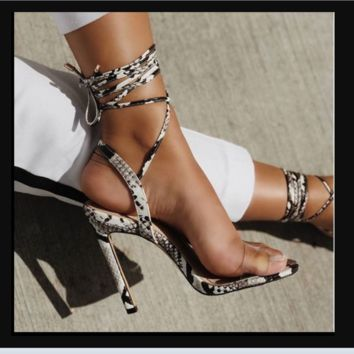 Hot style hot selling sexy lacing simple word with snake pattern heels