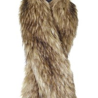 Faux Fur Tonal Stole - Brown